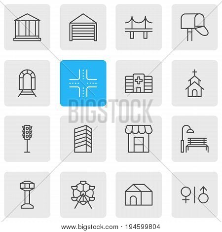 Vector Illustration Of 16 City Icons. Editable Pack Of Parking, Toilet, Subway And Other Elements.