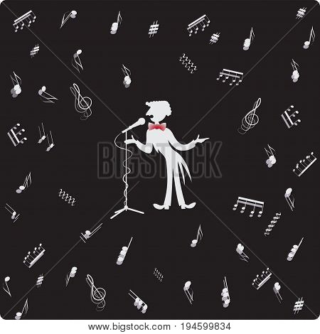 Opera soloist near the microphone. Vector image. Composition for the design of advertising booklets, illustrations, concert programs, announcements of speeches in magazines, newspapers, websites.