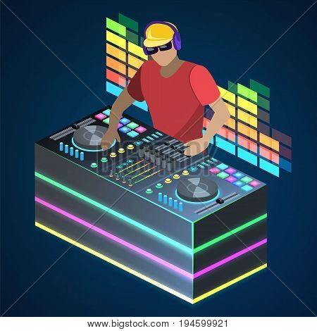 Isometric Flat 3D Concept Vector Cutaway Dj Playing Vinyl. Dj Interface Workspace Mixer Console Turn