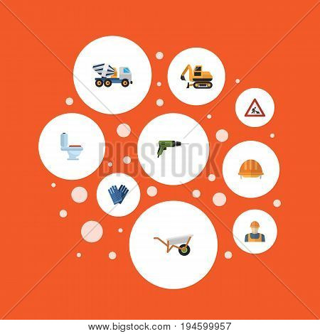 Flat Icons Cement Blender, Restroom, Hardhat And Other Vector Elements. Set Of Construction Flat Icons Symbols Also Includes Work, Workman, Toilet Objects.