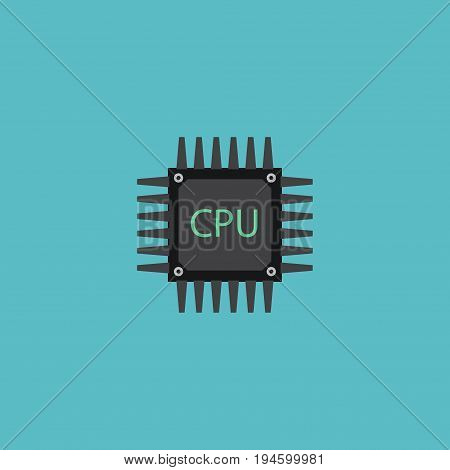Flat Icon Cpu Element. Vector Illustration Of Flat Icon Microprocessor Isolated On Clean Background. Can Be Used As Cpu, Microprocessor And Motherboard Symbols.