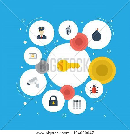 Flat Icons Policeman, Lock, Clue And Other Vector Elements. Set Of Safety Flat Icons Symbols Also Includes Remote, Trojan, Keypad Objects.
