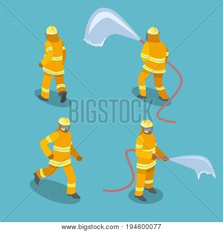 Isometric Flat 3D Isolated Vector Cutaway Firefighters In Action.