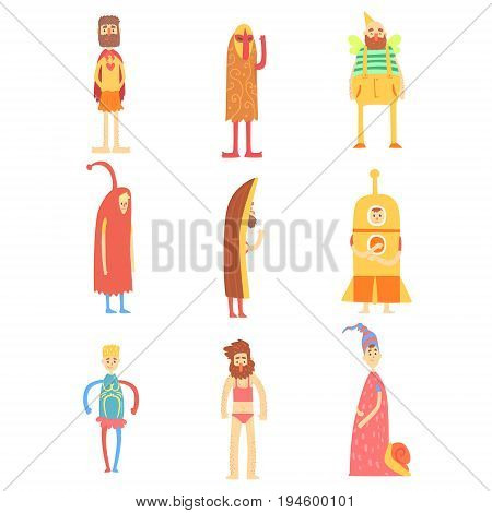 Set of people in funny costumes, colorful characters vector Illustrations isolated on white background