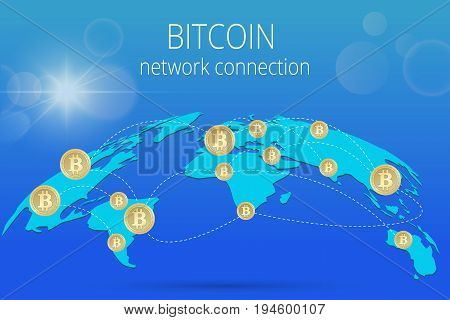 Digital Bitcoin Golden coin with Bitcoin symbol in electronic environment coins ryptocurrency physical colored bitcoin coins.