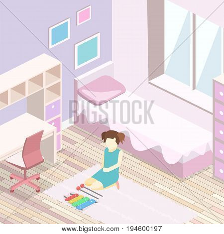 Isometric Flat 3D Isolated Interior Girls All Pink Bedroom Interior.