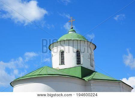 Eastern orthodox crosses on gold domes. Orthodox church.