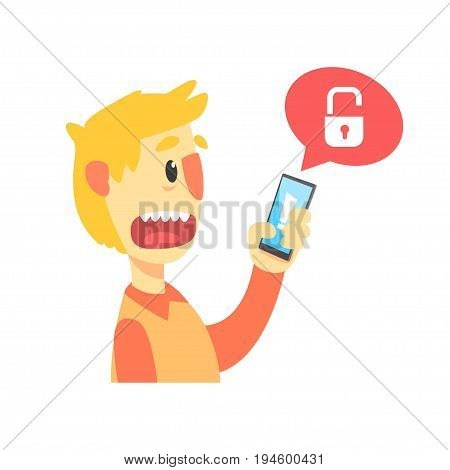 Stressed cartoon man holding unlocked smartphone, cartoon vector Illustration isolated on a white background