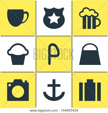 Vector Illustration Of 9 Check-In Icons. Editable Pack Of Handbag, Anchor, Photo Device Elements.