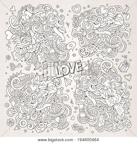 Sketchy vector hand drawn doodles cartoon set of Love and Valentines Day objects and symbols. Paper background