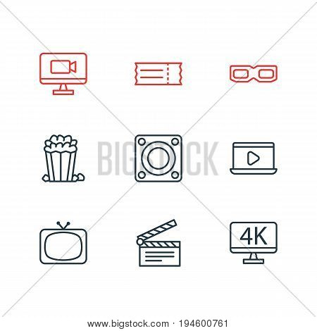 Vector Illustration Of 9 Cinema Icons. Editable Pack Of Snack, Resolution, Monitor And Other Elements.
