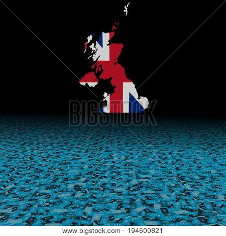 UK map flag with abstract pound foreground 3d illustration