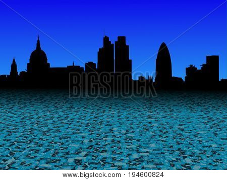 London skyline with abstract pound currency foreground 3d illustration