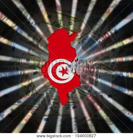 Tunisia map flag on currency burst 3d illustration