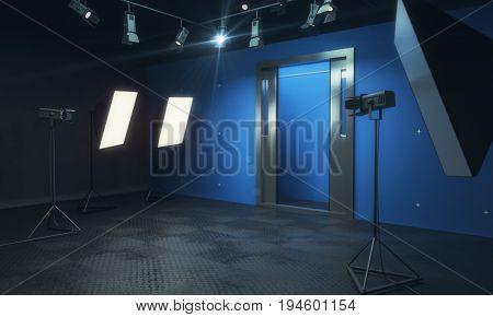 Blue Photo Studio With Equipment