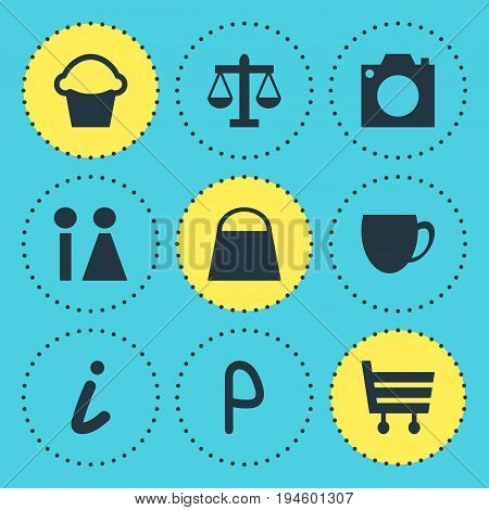 Vector Illustration Of 9 Map Icons. Editable Pack Of Car Park, Coffee Shop, Shopping Cart And Other Elements.