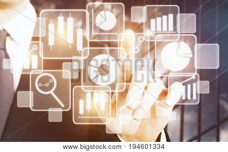 Businessman's hand pressing pointing at abstract digital business projection on glass background. Technology touchscreen and infograph concept. 3D Rendering