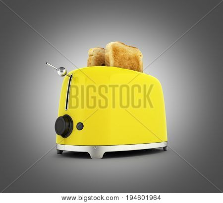 Toaster With Toasted Bread Isolated On Grey Gradient Background Kitchen Equipment Close Up 3D