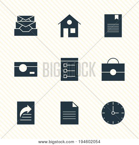 Vector Illustration Of 9 Internet Icons. Editable Pack Of Document Transfer, House, Clock And Other Elements.