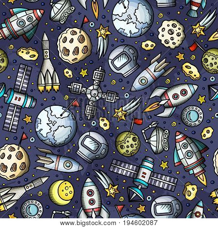 Cartoon hand-drawn space, planets seamless pattern. Lots of symbols, objects and elements. Perfect funny vector background.
