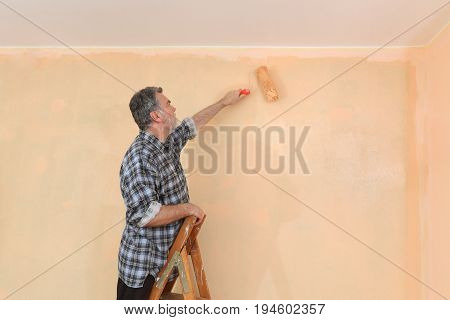 Adult Worker Paint Wall In A Room To Orange