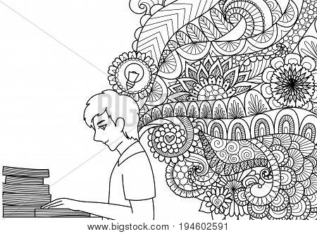 Lines art design of man reading books with spring ideas for illustration and adult or kids coloring book pages. Vector illustration.