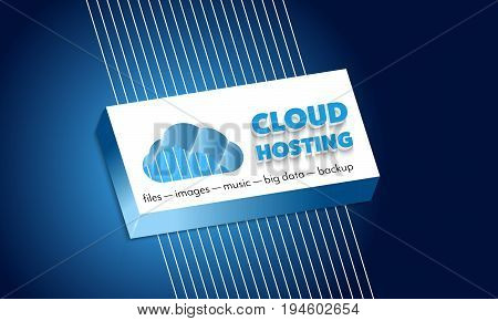 Inscription cloud hosting with plastic symbol of cloud