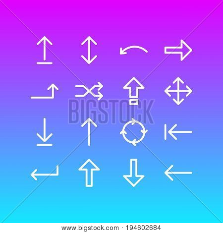 Vector Illustration Of 16 Arrows Icons. Editable Pack Of Upwards, Circle, Turn And Other Elements.