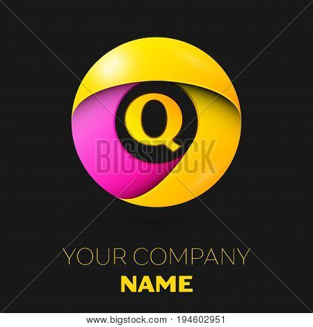 Realistic letter Q vector logo symbol in the colorful circle on black background. Vector template for your design