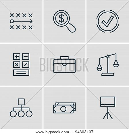 Vector Illustration Of 9 Business Icons. Editable Pack Of Cash, Portfolio, Balance And Other Elements.