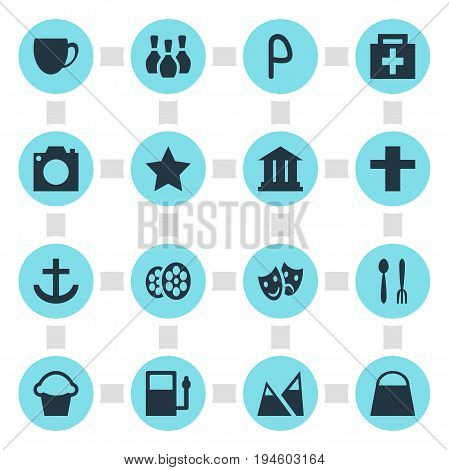 Vector Illustration Of 16 Map Icons. Editable Pack Of Film , Handbag, Refueling Elements.