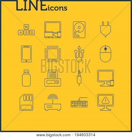 Vector Illustration Of 16 Notebook Icons. Editable Pack Of Usb Icon, Input Jack, Microprocessor And Other Elements.