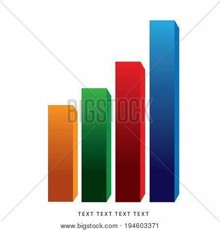 Bar graph, Vector idea, Growing bar graph icon.