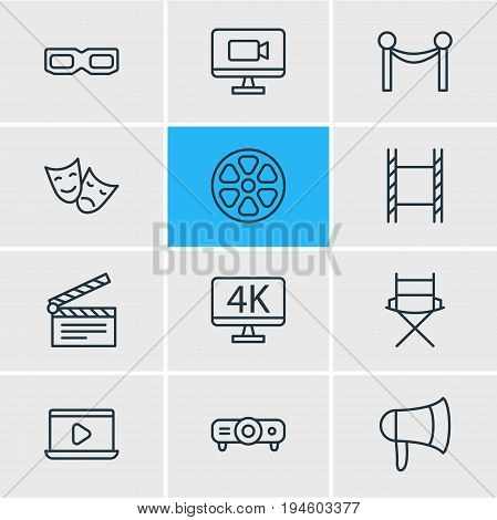 Vector Illustration Of 12 Film Icons. Editable Pack Of Clapper, Monitor, Resolution And Other Elements.