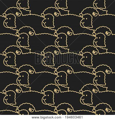 Black Sheep Pattern. Ewe Ornament.  Flock Of Sheeps. Farm Animal Background. Texture For Baby Cloth