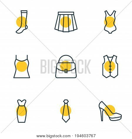 Vector Illustration Of 9 Dress Icons. Editable Pack Of Handbag, Waistcoat, Singlet Elements.