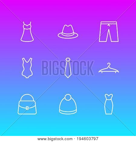 Vector Illustration Of 9 Clothes Icons. Editable Pack Of Handbag, Cloakroom, Pompom Elements.
