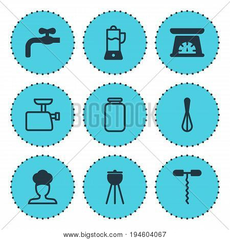 Vector Illustration Of 9 Kitchenware Icons. Editable Pack Of Fruit Squeezer, Measuring Tool, Mincer And Other Elements.
