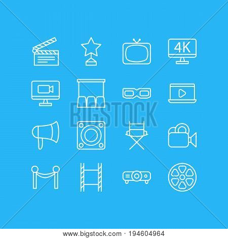 Vector Illustration Of 16 Film Icons. Editable Pack Of Slideshow, Loudspeaker, Megaphone And Other Elements.