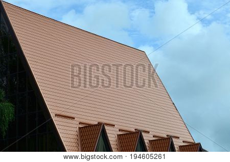 The House Is Equipped With High-quality Roofing Of Metal Tiles. A Good Example Of Perfect Modern Roo