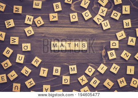 Maths Word Wood Block On Table For Business Concept.