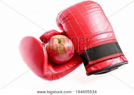 Training And Fitness Concept. Pair Of Boxing Sportswear And Apple