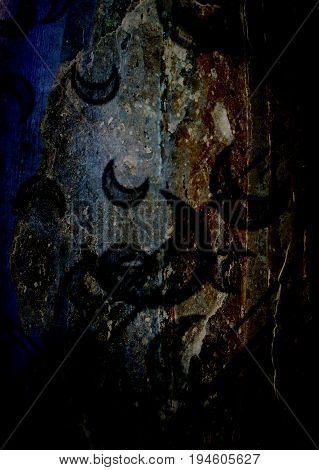 Abstract, abstract background. Blue background. Abstract symbols. Surrealism. Surreal background. Magical background.