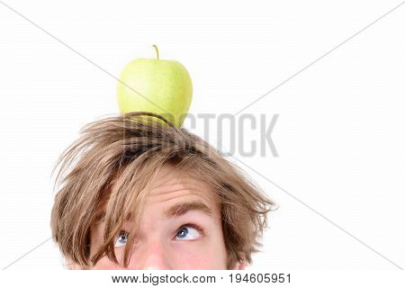 Guy With Fresh Fruit On His Head, Isolated On White
