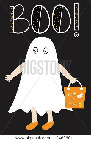 Happy Halloween Boo Girl Dressed like Ghost