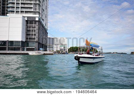 Tourist Boats At Jetty Jesselton Point, Kota Kinabalu
