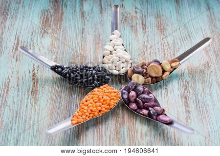 Star Composition Orange Lentils, Black, White, Brown, Purple Kidney Beans
