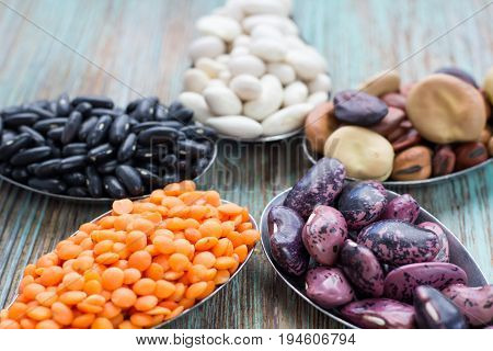 Star Composition Orange Lentils, Black, White, Brown, Purple Haricot Beans
