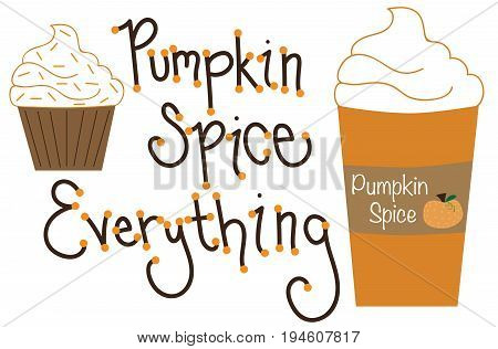 Pumpkin Pie Spice Everything Cupcake and Latte
