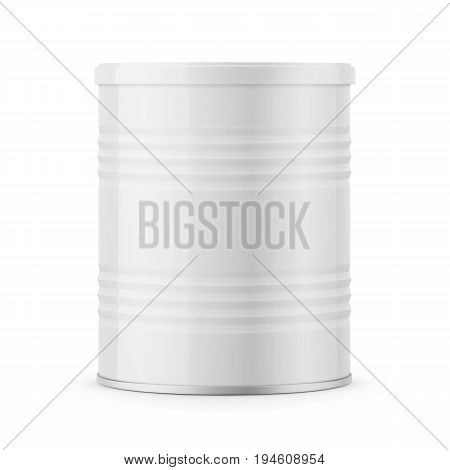 Round white glossy tin can with plastic lid for baby milk powder, instant coffee, cereal etc. Ribbed side. 400g. Realistic packaging mockup template. Vector illustration.